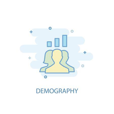 demography line concept. Simple line icon, colored illustration. demography symbol flat design