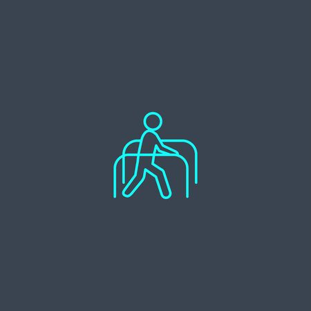 physiotherapy concept blue line icon. Simple thin element on dark background. physiotherapy concept outline symbol design. Can be used for web and mobile