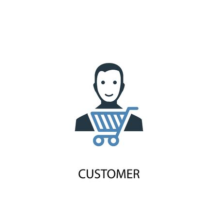 Customer concept 2 colored icon. Simple blue element illustration. Customer concept symbol design. Can be used for web and mobile