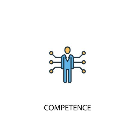 competence concept 2 colored line icon. Simple yellow and blue element illustration. competence concept outline symbol Ilustrace