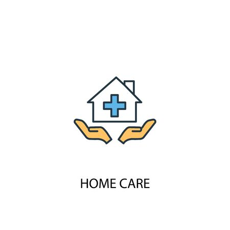 home care concept 2 colored line icon. Simple yellow and blue element illustration. home care concept outline symbol Ilustração