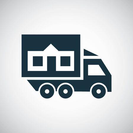 icono de inicio de camión para web y interfaz de usuario sobre fondo blanco