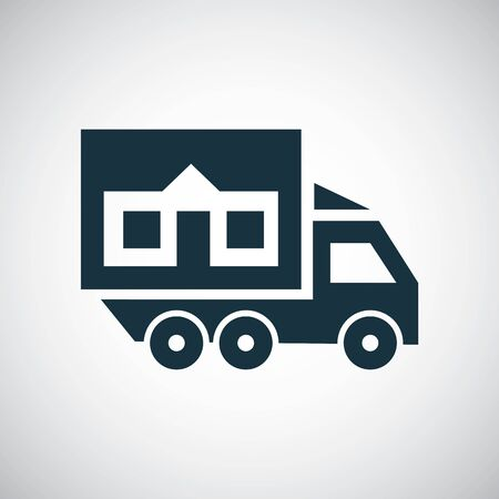 truck home icon for web and UI on white background 向量圖像