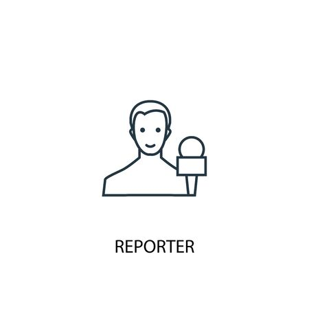 reporter concept line icon. Simple element illustration. reporter concept outline symbol design. Can be used for web and mobile Ilustração