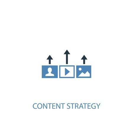 Content strategy concept 2 colored icon. Simple blue element illustration. Content strategy concept symbol design. Can be used for web and mobile Ilustração