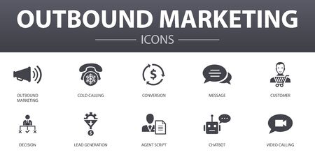 outbound marketing simple concept icons set. Contains such icons as Conversion, Customer, Lead Generation, Cold Calling and more, can be used for web, logo Ilustração