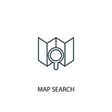map search concept line icon. Simple element illustration. map search concept outline symbol design. Can be used for web and mobile UI Vector Illustration