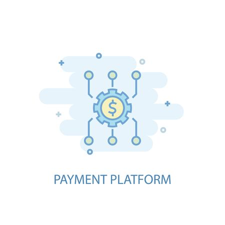 Payment platform line concept. Simple line icon, colored illustration. Payment platform symbol flat design. Can be used for UI