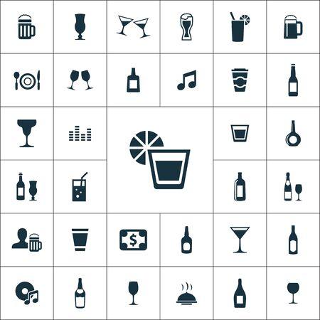 bar icons universal set for web and mobile. Ilustração