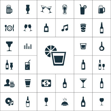 bar icons universal set for web and mobile. Illustration