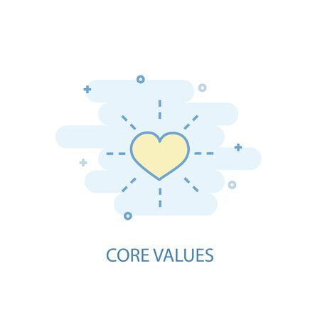 Core values line concept. Simple line icon, colored illustration. Core values symbol flat design. Can be used for UI