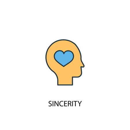 sincerity concept 2 colored line icon. Simple yellow and blue element illustration. sincerity concept outline symbol design