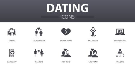 Dating simple concept icons set. Contains such icons as couple in love, fall in love, dating app, relations and more, can be used for web, logo, UI