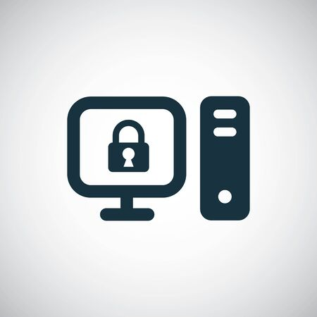 computer lock icon, on white background.