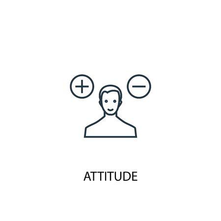 icono de línea de concepto de actitud. Ilustración de elemento simple. actitud concepto esquema símbolo diseño. Se puede utilizar para web y móvil. Ilustración de vector