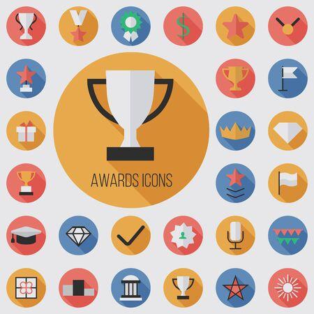 award flat, digital icon set  イラスト・ベクター素材