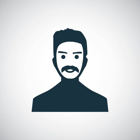 man with mustache icon for web and UI on white background