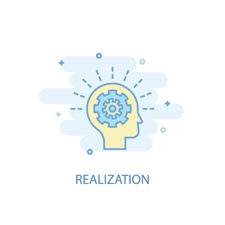 realization line concept. Simple line icon, colored illustration. realization symbol flat design. Can be used for