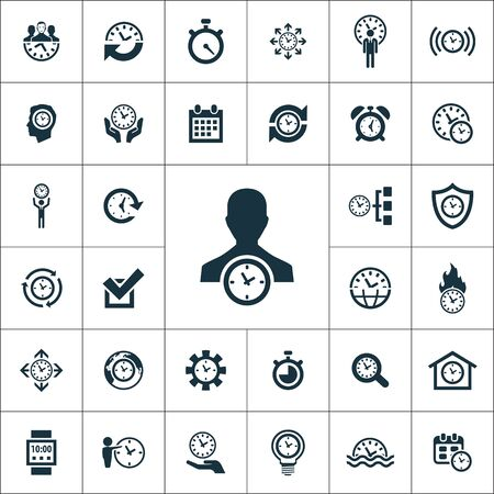 time management icons universal set for web and UI