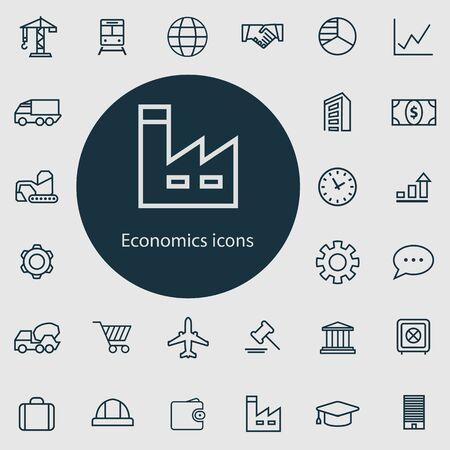 economics outline, thin, flat, digital icon set  イラスト・ベクター素材