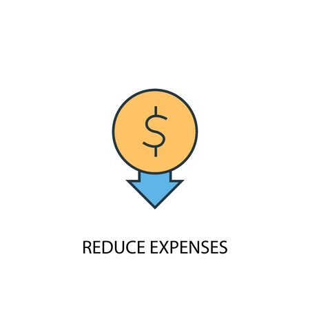 reduce expenses concept 2 colored icon. Simple blue element illustration. reduce expenses concept symbol design. Can be used for web and mobile