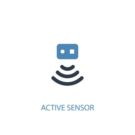 Aktives Sensorkonzept 2 farbiges Symbol. Einfache blaue Elementillustration. Symboldesign für das Konzept des aktiven Sensors. Kann für Web und Mobile verwendet werden