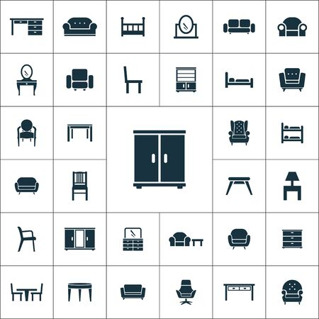furniture icons universal set for web and UI  イラスト・ベクター素材