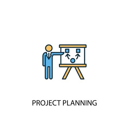 Project Planning concept 2 colored line icon. Simple yellow and blue element illustration. Project Planning concept outline symbol Standard-Bild - 133748629