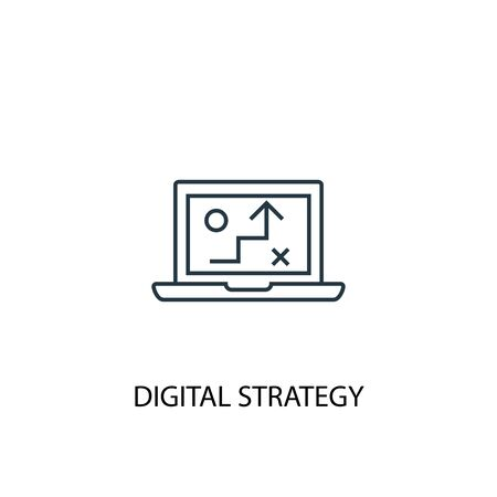 digital strategy concept line icon. Simple element illustration. digital strategy concept outline symbol design. Can be used for web and mobile
