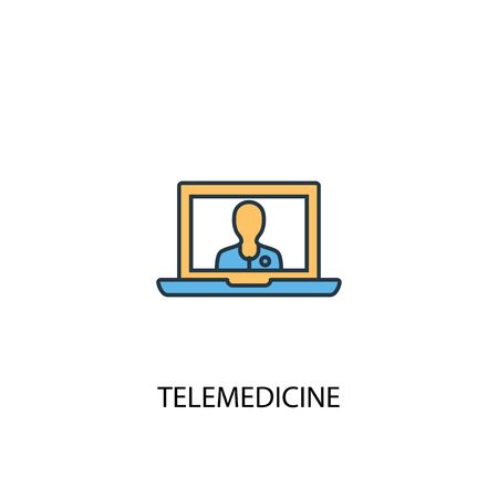telemedicine concept 2 colored line icon. Simple yellow and blue element illustration. telemedicine concept outline design