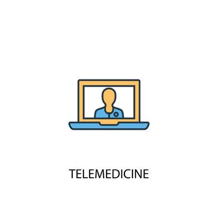 telemedicine concept 2 colored line icon. Simple yellow and blue element illustration. telemedicine concept outline design