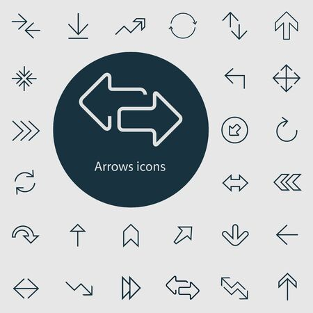 Arrows outline, thin, flat, digital icon set.