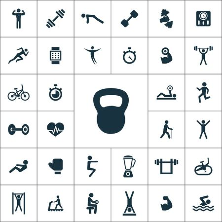 gym icons universal set for web and mobile.