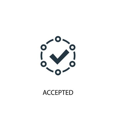 accepted icon. Simple element illustration. accepted concept symbol design. Can be used for web and mobile. Stok Fotoğraf - 133748665