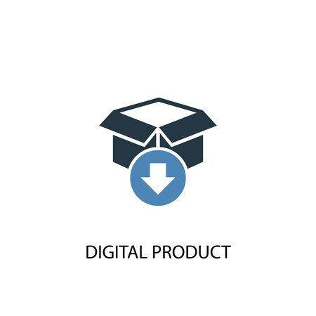 digital product concept 2 colored icon. Simple blue element illustration. digital product concept symbol design. Can be used for web and mobile UI  イラスト・ベクター素材