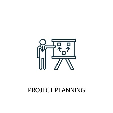 Project Planning concept line icon. Simple element illustration. Project Planning concept outline symbol design. Can be used for web and mobile UI Standard-Bild - 133748678