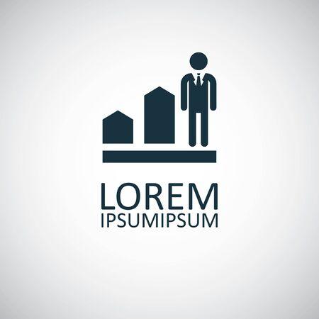 man diagram arrow icon, on white background. Ilustração