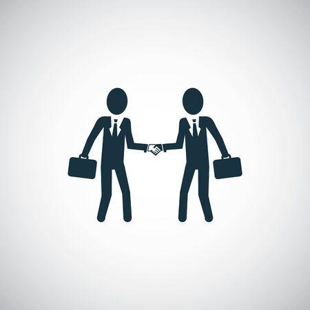 businessmen shaking hands icon, on white background
