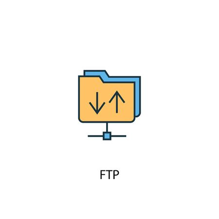FTP concept 2 colored line icon. Simple yellow and blue element illustration. FTP concept outline symbol design