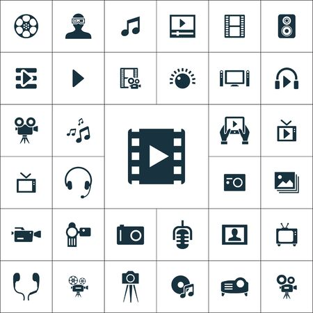 multimedia, video icons universal set for web and mobile. Çizim