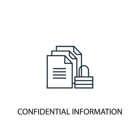 icône de ligne de concept d'informations confidentielles. Illustration d'élément simple. conception de symbole de contour de concept d'informations confidentielles. Peut être utilisé pour l'interface utilisateur Web et mobile