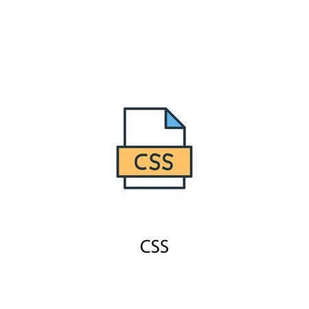 CSS concept 2 colored line icon. Simple yellow and blue element illustration. CSS concept outline symbol design