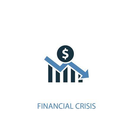 concetto di crisi finanziaria 2 icona colorata. Illustrazione semplice dell'elemento blu. disegno di simbolo di concetto di crisi finanziaria. Può essere utilizzato per web e mobile