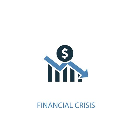 financial crisis concept 2 colored icon. Simple blue element illustration. financial crisis concept symbol design. Can be used for web and mobile  イラスト・ベクター素材