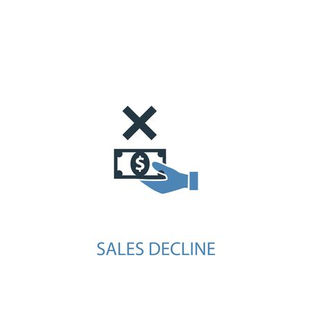 sales decline concept 2 colored icon. Simple blue element illustration. sales decline concept symbol design. Can be used for web and mobile