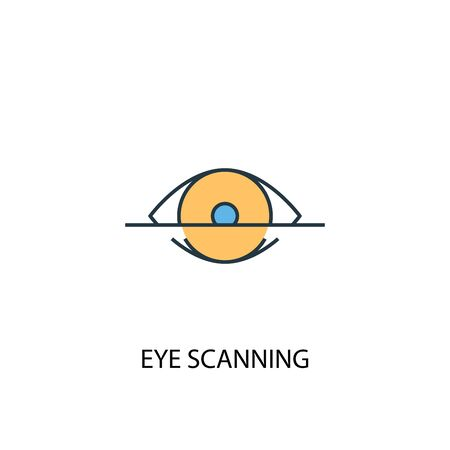 eye scanning concept 2 colored line icon. Simple yellow and blue element illustration. eye scanning concept outline symbol
