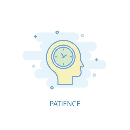 patience line concept. Simple line icon, colored illustration. patience symbol flat design  イラスト・ベクター素材