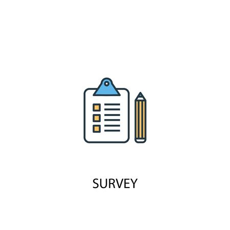survey concept 2 colored line icon. Simple yellow and blue element illustration. survey concept outline design Stock Vector - 133748769