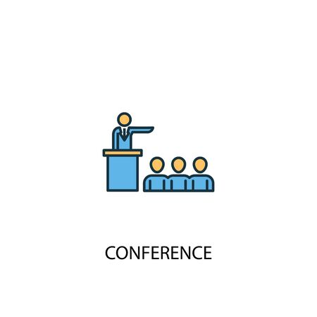 conference concept 2 colored line icon. Simple yellow and blue element illustration. conference concept outline symbol design