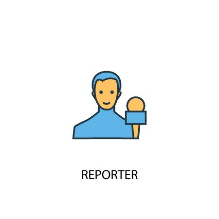 reporter concept 2 colored icon. Simple blue element illustration. reporter concept symbol design. Can be used for web and mobile UI 向量圖像